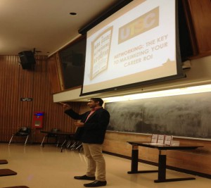 Lecture hall at UTSC with over 100 undergraduate students attending